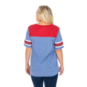 SMU Mustangs 47 Womens Triblend Striped Sleeve T-Shirt