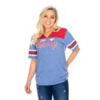 SMU Mustangs 47 Womens Triblend Striped Sleeve T-Shirt