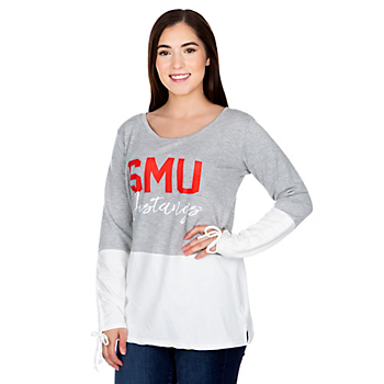 SMU Mustangs Womens Gameday Couture Color Block Top