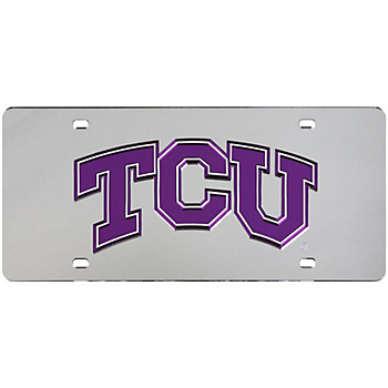 TCU Horned Frogs Silver Mirror Logo License Plate