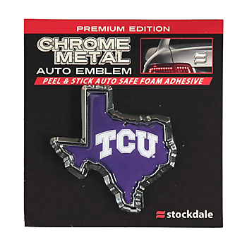 TCU Horned Frogs Texas Shaped Chrome Emblem