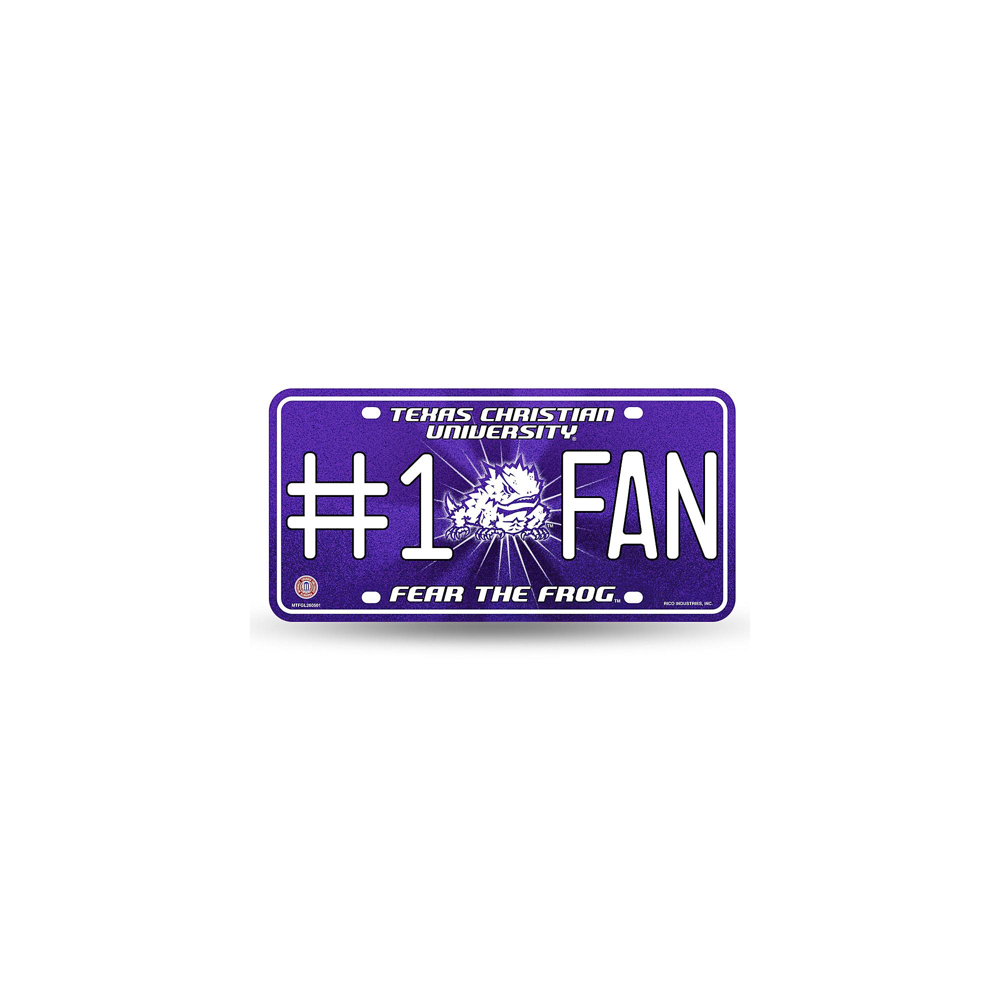 TCU Horned Frogs #1 Fan Bling Metal Tag