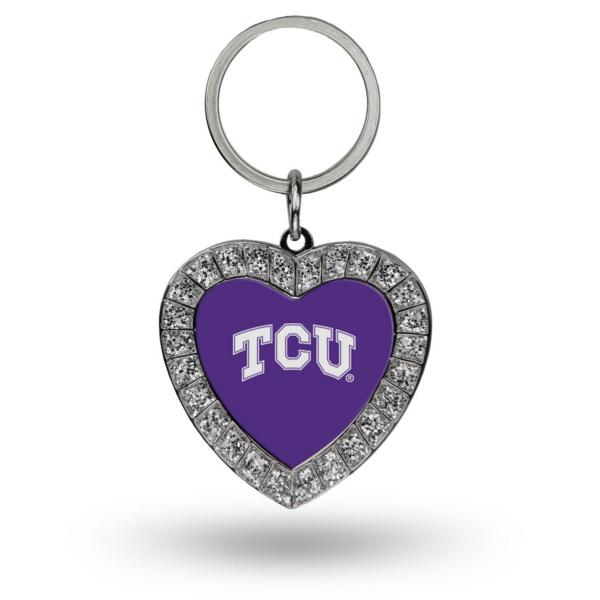 TCU Horned Frogs Rhinestone Heart Keychain