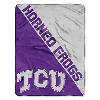 TCU Horned Frogs Micro Raschel Half-Tone Throw Blanket