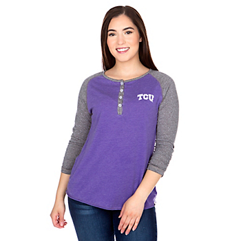 TCU Horned Frogs Colosseum Womens 8 Pound Henley T-Shirt