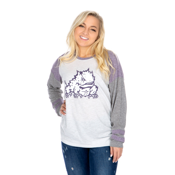 TCU Horned Frogs 47 Womens Distressed Imprint Cinderblock Tee