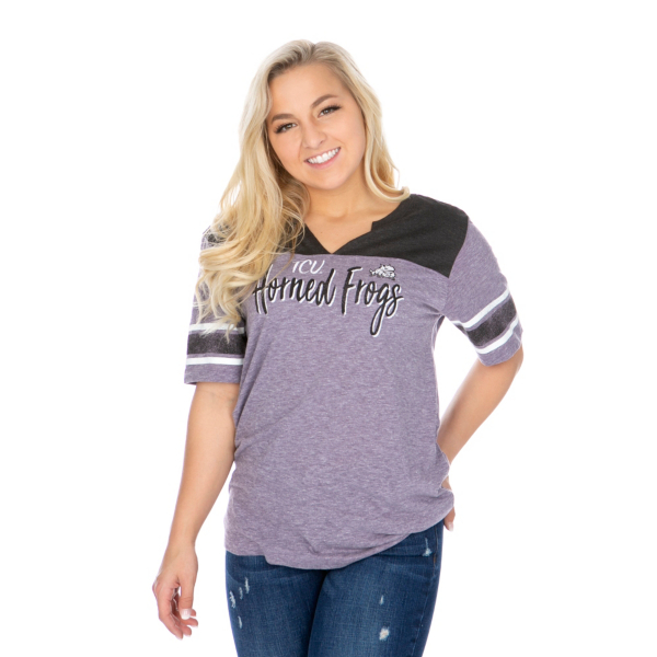 TCU Horned Frogs 47 Womens Triblend Striped Sleeve T-Shirt
