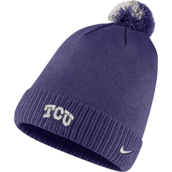 TCU Horned Frogs Nike Sideline Pom Knit Hat