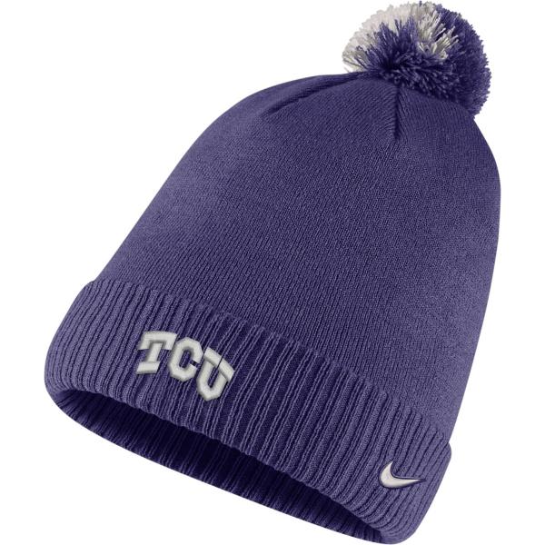 TCU Horned Frogs Nike Sideline Pom Knit Hat