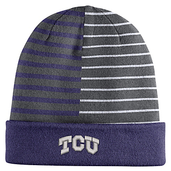TCU Horned Frogs Striped Knit Hat