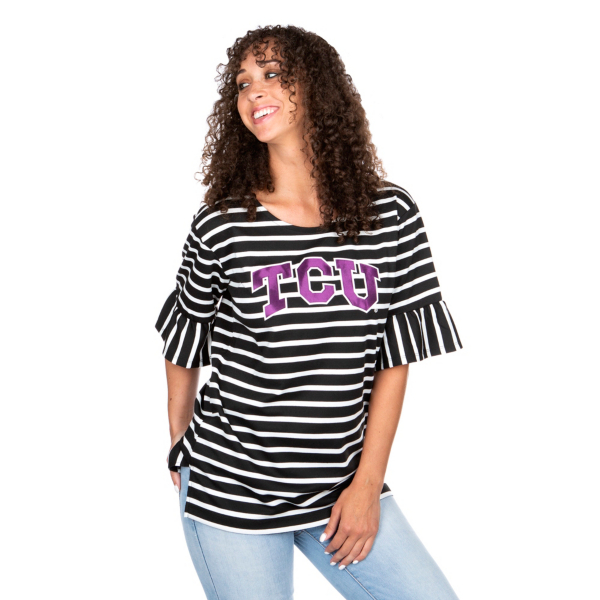 TCU Horned Frogs Gameday Couture Ruffle Sleeve Tee