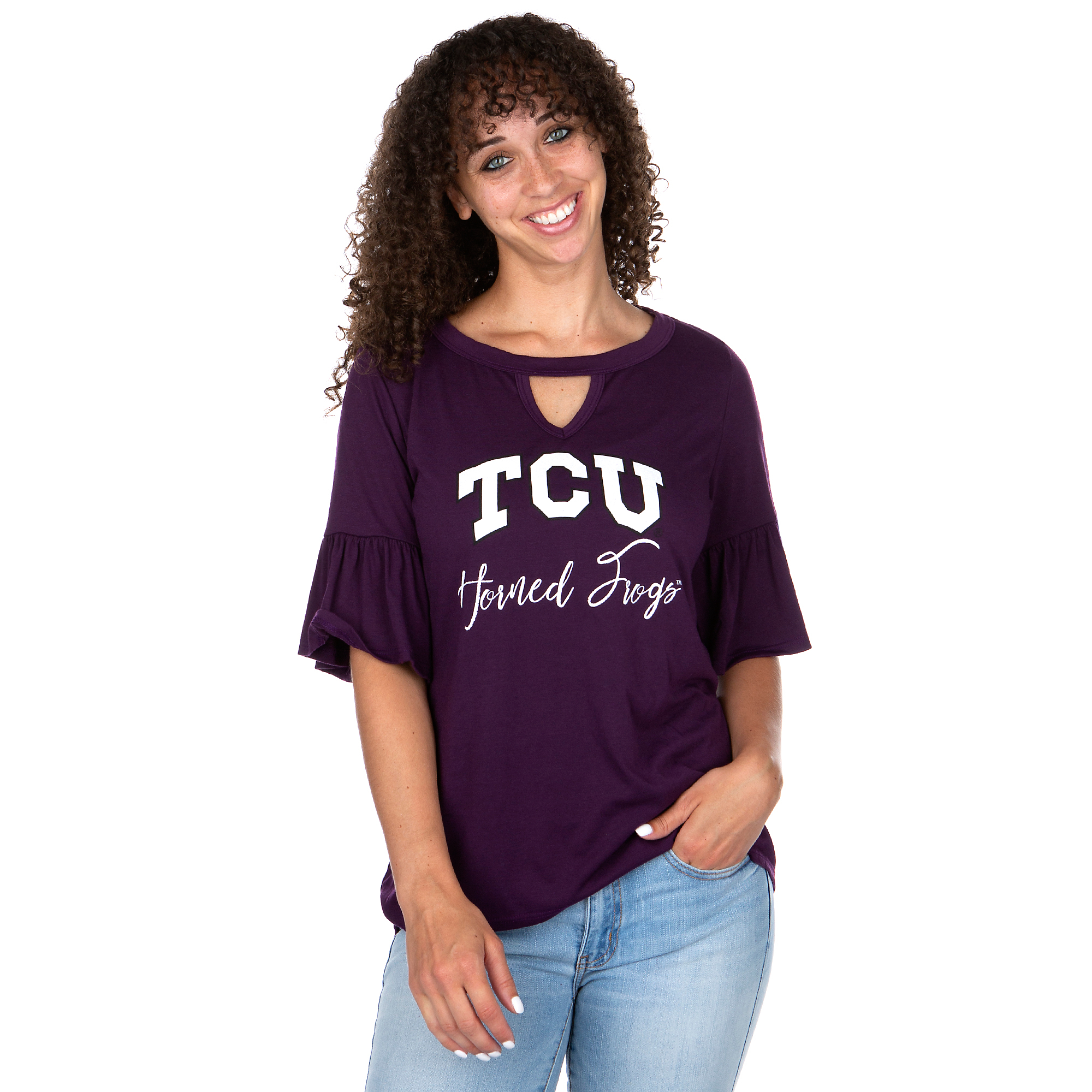 TCU Horned Frogs Gameday Couture Keyhole Ruffle Sleeve Tee