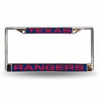 Texas Rangers Laser Chrome License Plate Frame