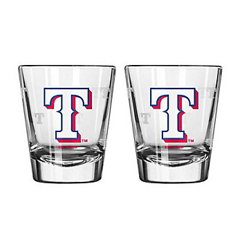 Texas Rangers 2 oz Satin Etch Shot Glass