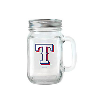 Texas Rangers 16 oz Glass Jar with Handle