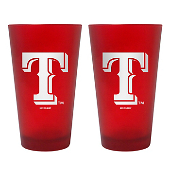 Texas Rangers 16 oz Red Color Frosted Pint