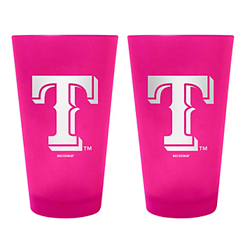 Texas Rangers 16 oz Pink Color Frosted Pint