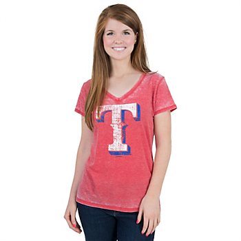Texas Rangers 5th & Ocean Burnout V-Neck Tee