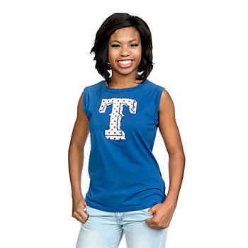 Texas Rangers 5th & Ocean Ladies Baby Jersey Muscle Tee