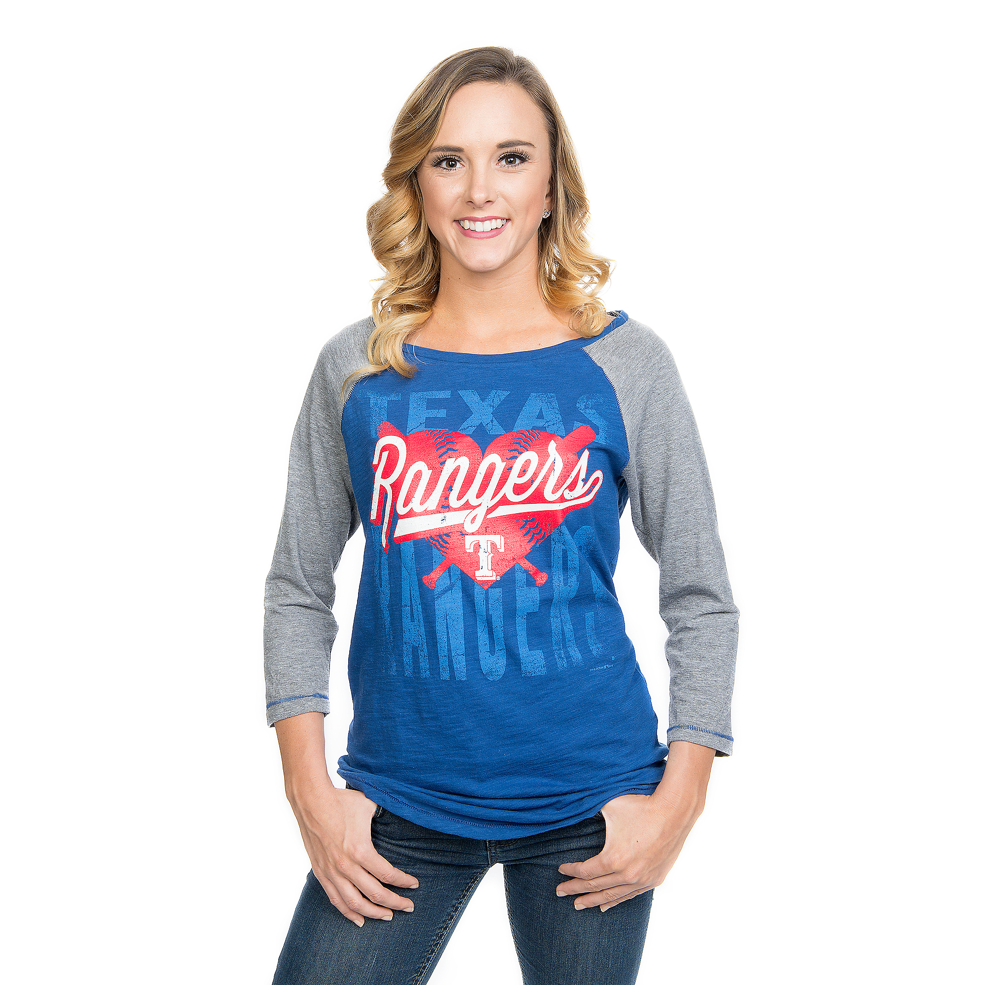 Texas Rangers 5th & Ocean Ladies Baby Jersey 3/4 Sleeve Raglan Tee