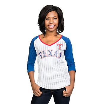 Texas Rangers 5th & Ocean Ladies Pinstripe Baby Jersey 3/4 Sleeve Raglan Tee