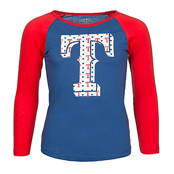 Texas Rangers 5th & Ocean Youth Long Sleeve Raglan Scoop Neck Tee