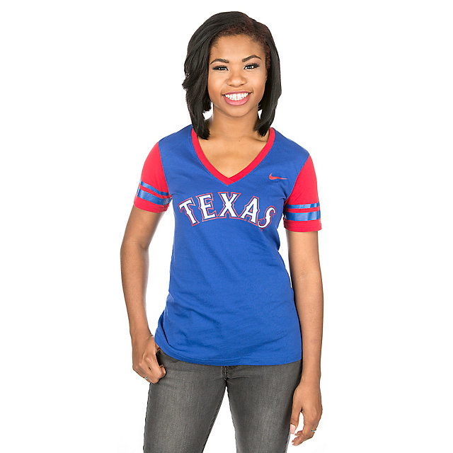 Texas Rangers Nike Women's V-Neck Fan Top