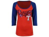 Texas Rangers 5th & Ocean Ladies 3/4 Sleeve Scoop Neck Tee