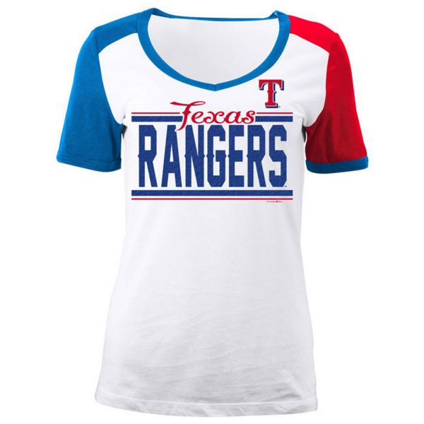 Texas Rangers 5th & Ocean Ladies V-Neck Ringer Short Sleeve Tee