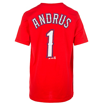 Texas Rangers Majestic Youth Elvis Andrus Name and Number Tee