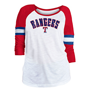 Texas Rangers 5th & Ocean Womens Slub 3/4 Sleeve Jersey T-Shirt