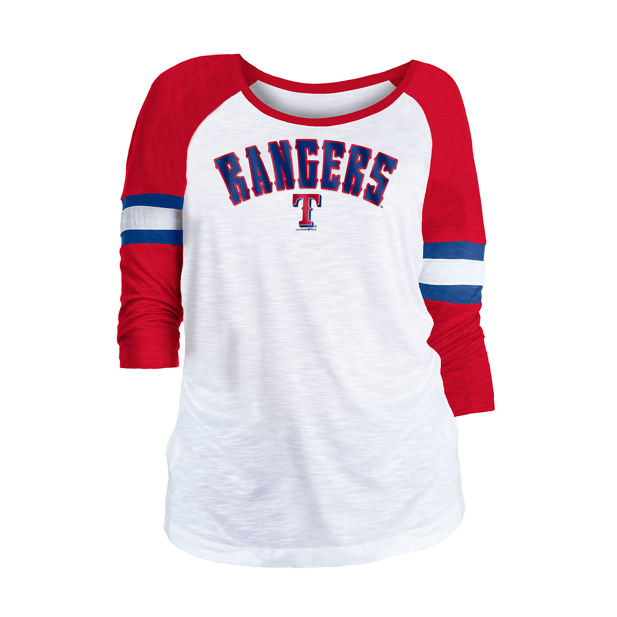 Texas Rangers 5th & Ocean Womens Slub 3/4 Sleeve Jersey T-Shirt