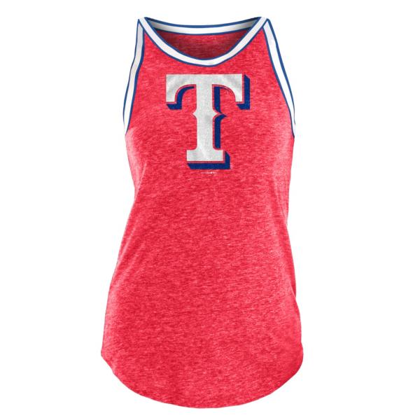 Texas Rangers 5th & Ocean Womens Tri-Blend Raw Edge Jersey Tank