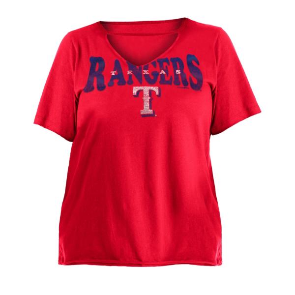 Texas Rangers 5th & Ocean Womens Plus Size Baby Raw Edge Jersey T-Shirt