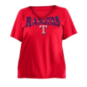 Texas Rangers 5th & Ocean Womens Plus Size Baby Raw Edge Jersey T-Shirt