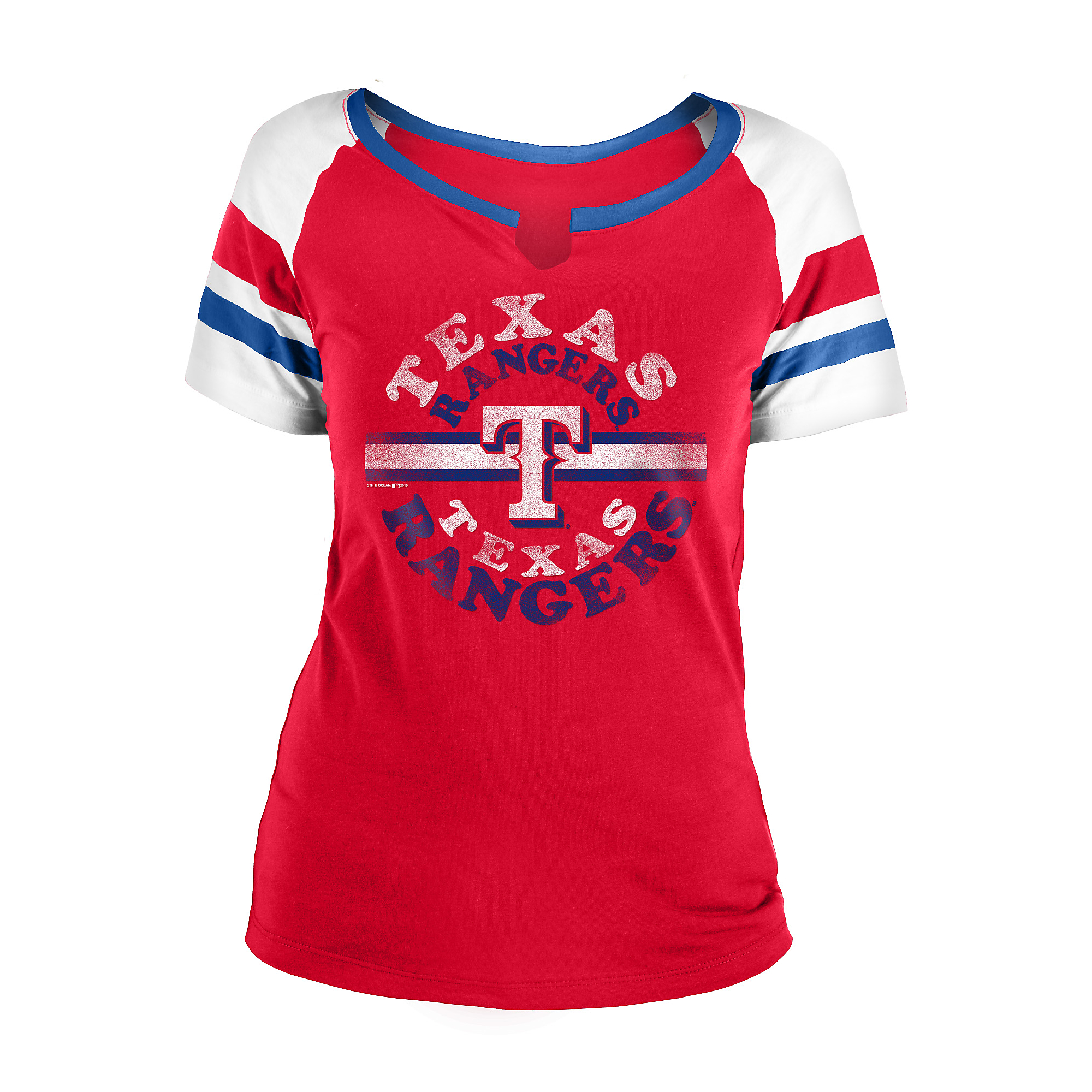 Texas Rangers 5th & Ocean Womens Baby Split Scoop Jersey T-Shirt
