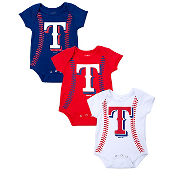 Texas Rangers Running Home Baseball Creeper - 3 Pack