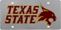 Texas State Bobcats Silver Mirror Logo License Plate