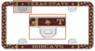 Texas State Bobcats Thin Rim Domed License Plate Frame