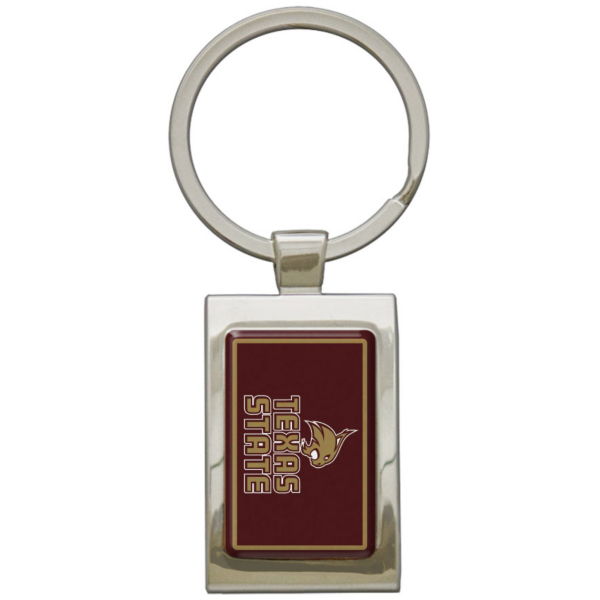 Texas State Bobcats Arched Rectangle Keychain