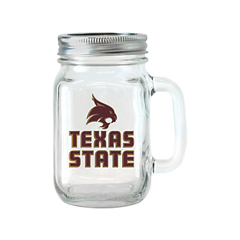Texas State Bobcats 16 oz Glass Jar with Handle