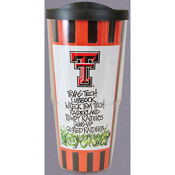 Texas Tech Red Raiders 24 oz Striped Tumbler with Lid