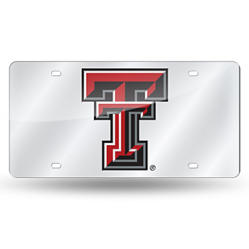 Texas Tech Red Raiders Silver Mirror Logo License Plate