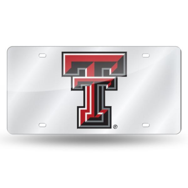 Texas Tech Red Raiders Silver Mirror Logo License Plate