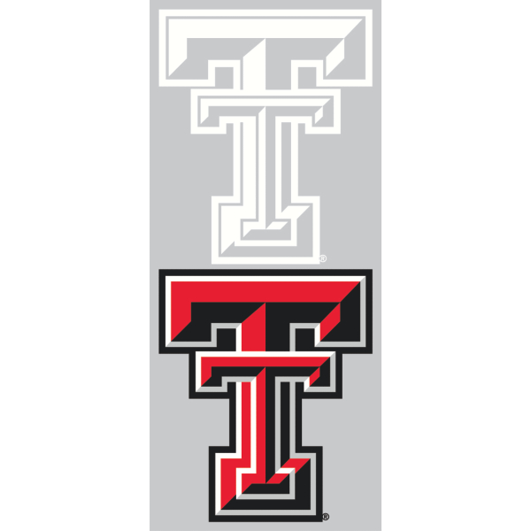 Texas Tech Red Raiders 2-Pack 3x7 White Logo Decal