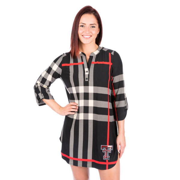 Texas Tech Red Raiders 3/4 Sleeve Plaid Tunic