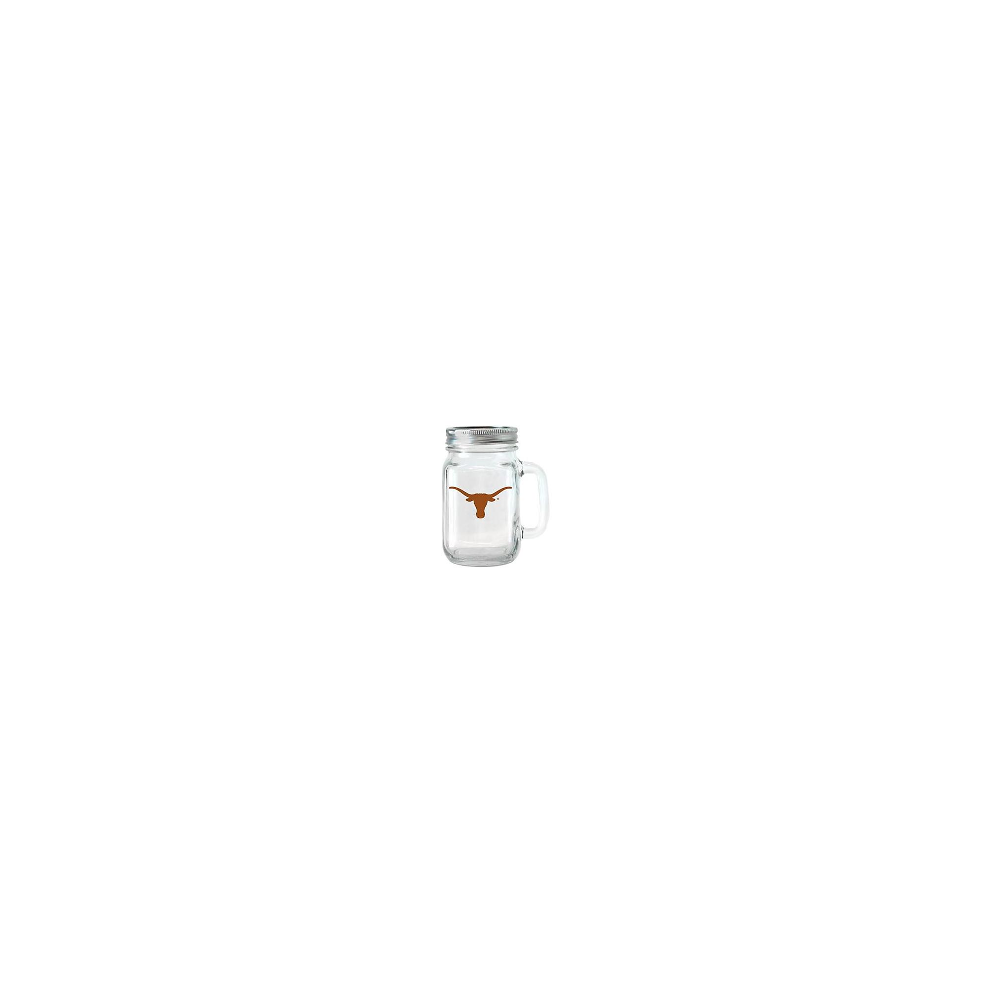 Texas Longhorns 16 oz Glass Jar with Handle