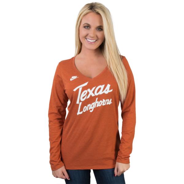 Texas Longhorns Nike Women's Rewind Script Long Sleeve Tee