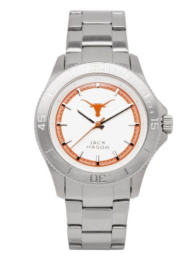 Texas Longhorns Men's Sport Bracelet Silver Dial Watch