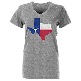 Texas Longhorns Womens Flag State Short Sleeve Tee